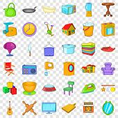 Indoor Icons Set. Cartoon Style Of 36 Indoor Vector Icons For Web For Any Design poster