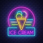 Ice Cream- Neon Sign Vector. Ice Cream -  Badge In Neon Style On Brick Wall Background, Design Eleme poster