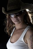 Rockstar Woman In Cowboy Hat And Tanktop