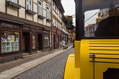 Yellow Tour Train In Wernigerode Germany In The Streets Picking Up People For The Tour poster