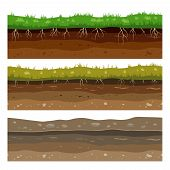 Soil Ground Layers. Seamless Campo Ground Dirt Clay Surface Texture With Stones And Grass. Vector Se poster