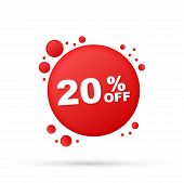 20 Percent  Off Sale Discount Banner. Discount Offer Price Tag. 20 Percent Discount Promotion Flat I poster