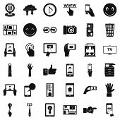 Touch Screen Icons Set. Simple Style Of 36 Touch Screen Icons For Web Isolated On White Background poster