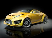 Yellow sports car on a black background. Non-branded car design. poster