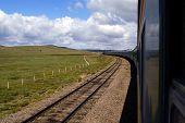 Trans-Siberian Railway in landscape of Mongolia