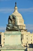 Washington DC - Lion statue in front of United States Capitol building