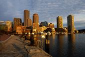 Boston Harbor Skyline At Dawn