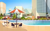 Luxury City Hotel Swimming Pool Resort With Umbrellas Desks And Chairs Restaurant Furniture Around S poster