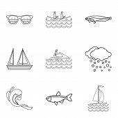 Water Creature Icons Set. Outline Set Of 9 Water Creature Icons For Web Isolated On White Background poster