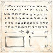 Vector Hand Drawn Doodle Line Border Frame Doodle Design Elements Set On Vintage Paper Background poster