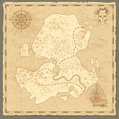 Treasure Island Map. Retro Wallpaper Vintage Islands Map Nautical Travel Background With Compass Shi poster