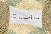 Man And Women Straw Hats And Summertime Text On White Textured Background, Copy Space. Summer Concep poster