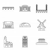 Skyscraper Icons Set. Outline Set Of 9 Skyscraper Icons For Web Isolated On White Background poster