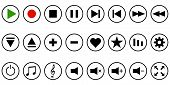 Set Media Player Button Icon, Vector Button Template For Music Media Player poster