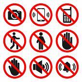 No Cameras, No Phones, No Entry Signs. No Sound, Do Not Touch Symbols. Forbidden Icon Set. Vector. poster