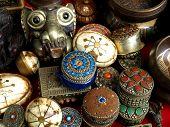 picture of bric-a-brac  - Jewelled jewellery boxes at the Bric a Brac market in Kathmandu  - JPG