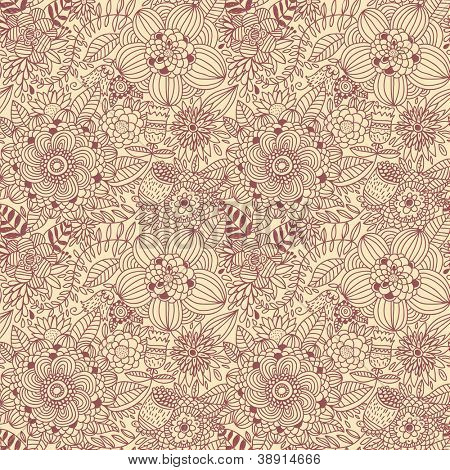 Vintage floral seamless pattern in retro colors. Rating: 1