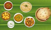 stock photo of paneer  - illustration of food on a banana leaf - JPG