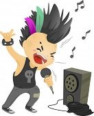 Illustration of a Boy Dressed as a Rockstar Singing in front of a Loudspeaker