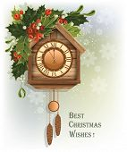 Christmas background with wooden cuckoo clock