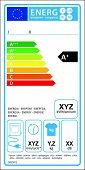 Tumbledryer electric new energy rating graph label in vector.
