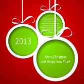 picture of paper cut out  - Abstract green Christmas balls cutted from paper on red background - JPG