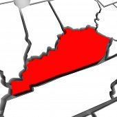 A red abstract state map of Kentucky a 3D render symbolizing targeting the state to find its outlines and borders