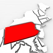 A red abstract state map of Pennsylvania, a 3D render symbolizing targeting the state to find its ou