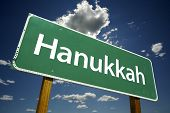 Hanukkah Road Sign With Dramatic Clouds