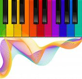 colorful piano keyboard on a white background