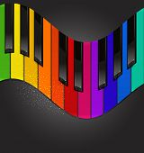 colorful piano keyboard in the form of waves on a black background