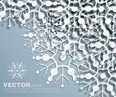 Vector 3d  decorative corner design of overlapping  snowflakes . The shadows are entirely vector bas