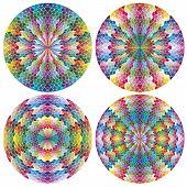 Conjunto de mosaico como ruedas de color de filigrana