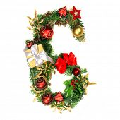 picture of six-petaled  - Christmas Alphabet Number 6 - JPG