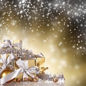 Christmas gifts with shining background
