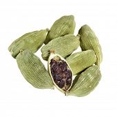 picture of laddu  - Green cardamom seeds on a white background - JPG