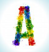 Color paint splashes. Gradient vector font. Letter A