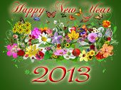 2013 happy new year illustration - green floral background