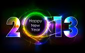 stock photo of happy new year 2013  - illustration of shiny 2013 in happy new year background - JPG