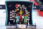 Moskau - März 3: Gewinner-Damen - Patrizia Kummer (Schweiz, gold), Julia Duymivits (Austria, silbern