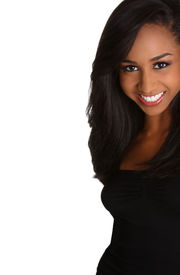 picture of african american woman  - a young african american woman with a beautiful smile and long black hair - JPG