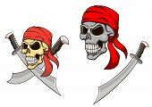 stock photo of skull crossbones flag  - Pirate skull with sharp sabers in cartoon style for mascot design - JPG