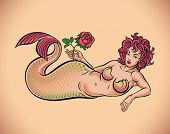 Old-school styled tattoo of a red hair mermaid with a red rose. Editable vector illustration.
