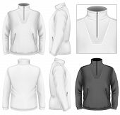 Photo-realistic vector illustration. Men's fleece sweater design template (front view, back and side