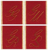 Collection of textile monograms design on a ribbon. JJ, JM, JS, JR