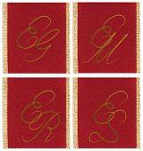 Collection of textile monograms design on a ribbon. EJ, EM, ES, ER