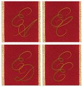 Collection of textile monograms design on a ribbon. EA, EC, ED, EE