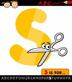 Letter S With Scissors Cartoon Illustration