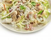 delicious salad with mushrooms leek and dover sole