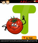 picture of letter t  - Cartoon Illustration of Capital Letter T from Alphabet with Tomato for Children Education - JPG